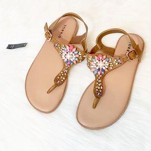 NWT Torrid Multi-Color Gem Tan T-Strap Sandals